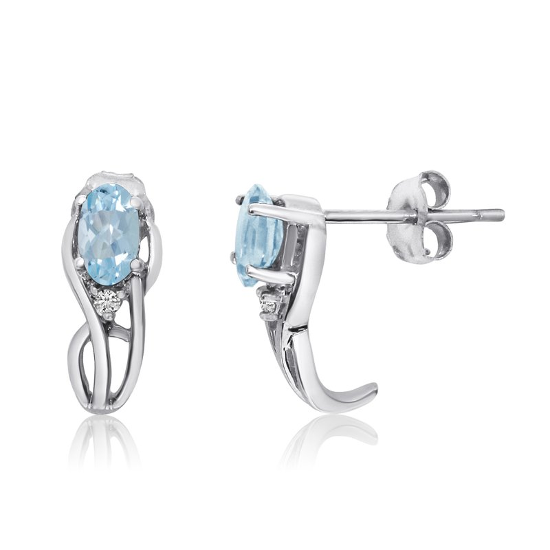 Color Merchants 14K White Gold Curved Aqumarine and Diamond Earrings
