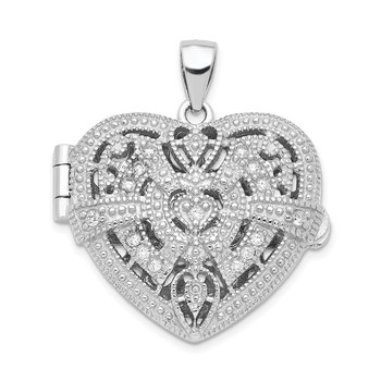 Sterling Silver Rhodium-plated CZ Fancy Design Heart 22mm Locket Pendant