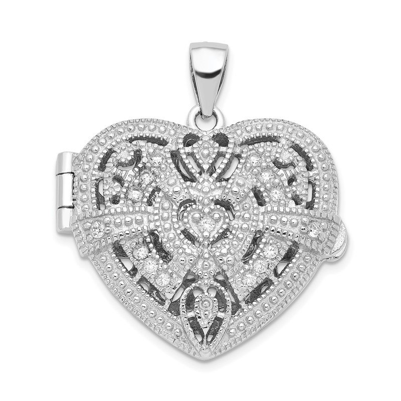 Quality Gold Sterling Silver CZ Design Heart Locket Pendant