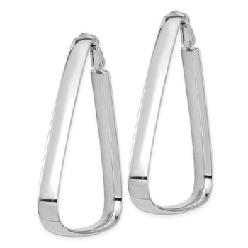 14k White Gold High Polished 5mm Omega Back Triangle Hoop Earrings
