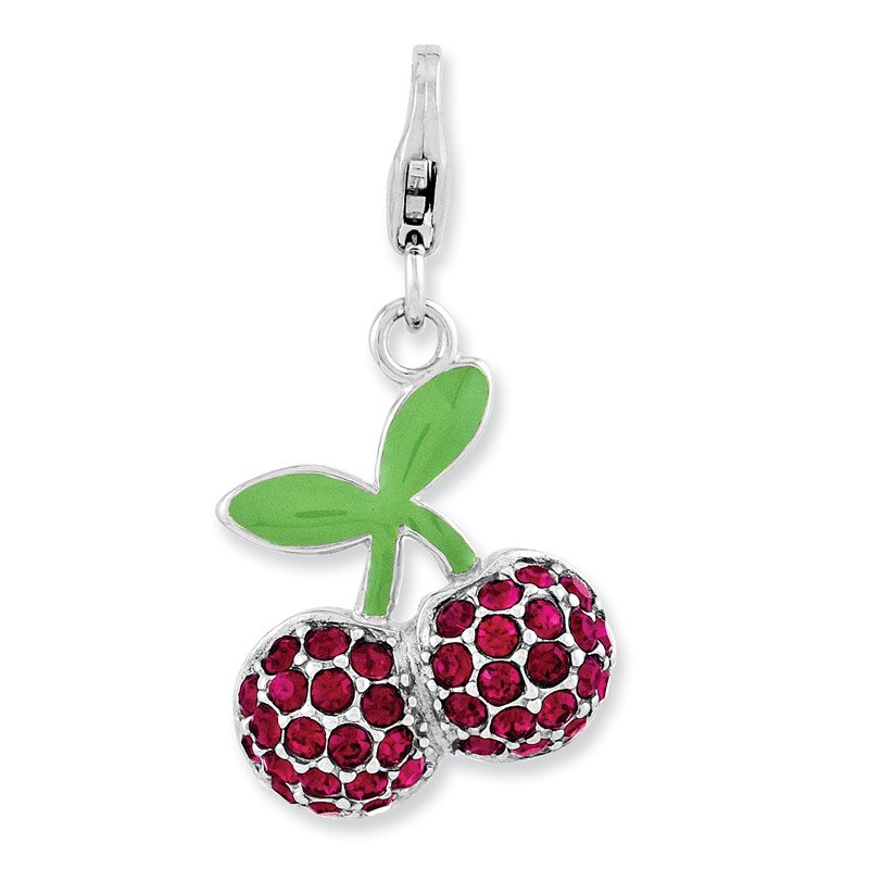Quality Gold Sterling Silver Enameled 3-D Cherries w/Lobster Clasp Charm