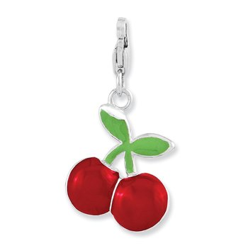 Sterling Silver RH Enameled 3-D Cherries w/Lobster Clasp Charm
