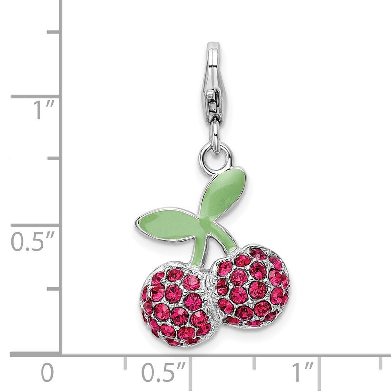 Quality Gold Sterling Silver RH Enameled 3-D Cherries w/Lobster Clasp Charm