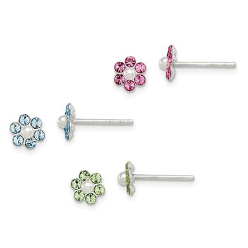 Sterling Silver Stellux Crystal Imitation Pearl Post Flower 3pc Set Ear