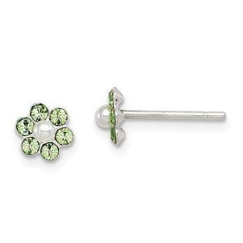 Sterling Silver 3pc Stellux Crystal & Imitation Pearl Flower Earring Set