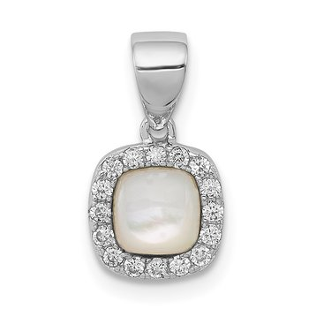 Sterling Silver Rhodium-plated Mother of Pearl and CZ Square Pendant