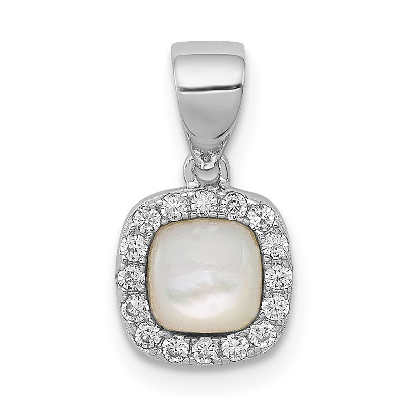 Quality Gold Sterling Silver Rhodium-plated Mother of Pearl and CZ Square Pendant