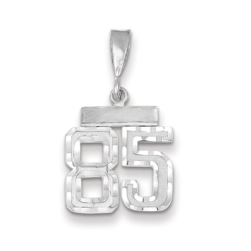 Quality Gold 14k White Gold Small Diamond-cut Number 85 Charm