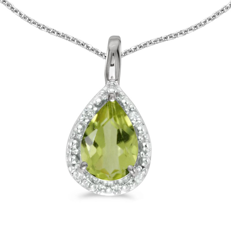 Color Merchants 14k White Gold Pear Peridot Pendant