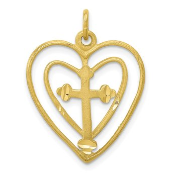 10k CROSS IN HEART CHARM