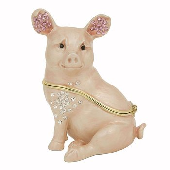 """Porky"" the Pig Trinket Box with Swarovski Crystal"
