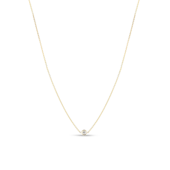 18Kt Gold 1 Diamond Station Necklace