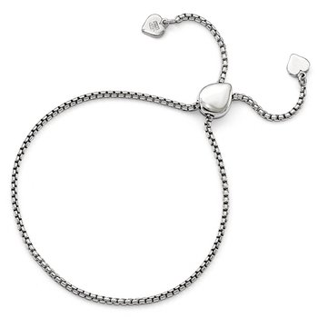 Leslie's Sterling Silver Round Rectangle Box Heart Adjustable Bracelet