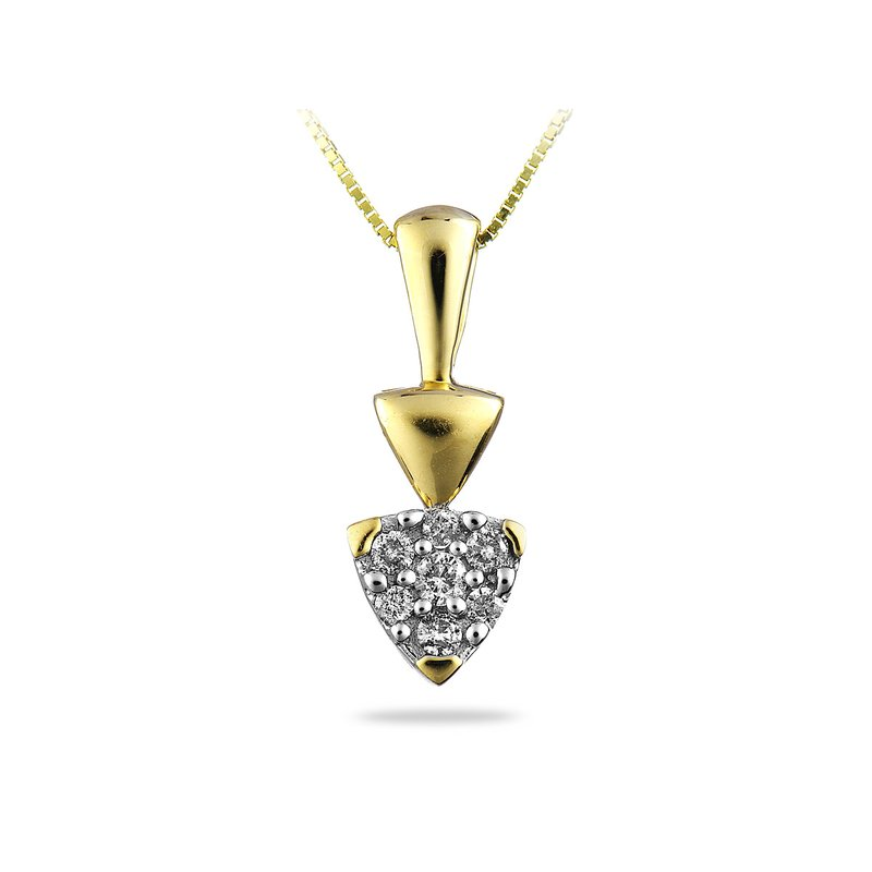 BB Impex 14K YG Diamond Cluster Pendant
