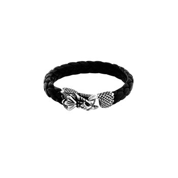 Leather Bracelet W/ Silver Dragon Clasp