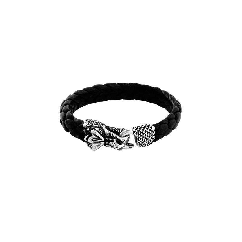 King Baby Leather Bracelet W/ Silver Dragon Clasp
