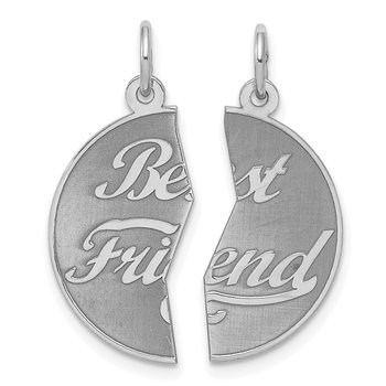 Sterling Silver Rhodium-plated 2-piece Best Friend Disc Charm