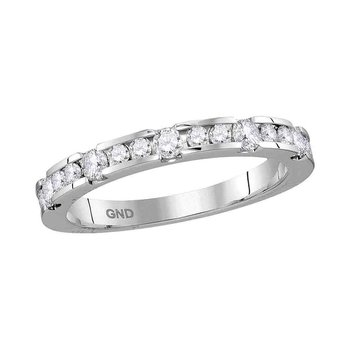 14kt White Gold Womens Round Diamond Wedding Band Ring 1/2 Cttw