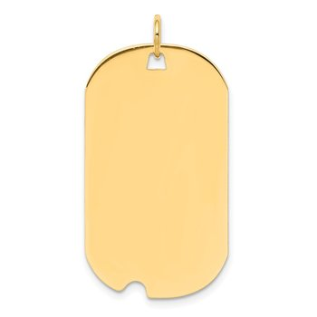 14k Plain .027 Gauge Engravable Dog Tag w/Notch Disc Charm