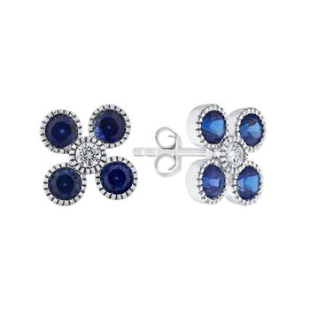 Round Cut Diamond & Sapphire Floral Stud Earrings