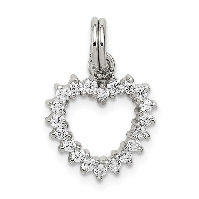 Quality Gold Sterling Silver Rhodium-plated CZ Heart Charm