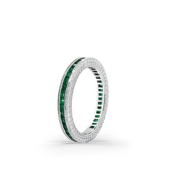 18K White Gold Emerald Eternity Band