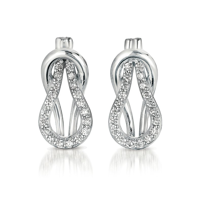 S. Kashi  & Sons White Gold Love Knot Earring