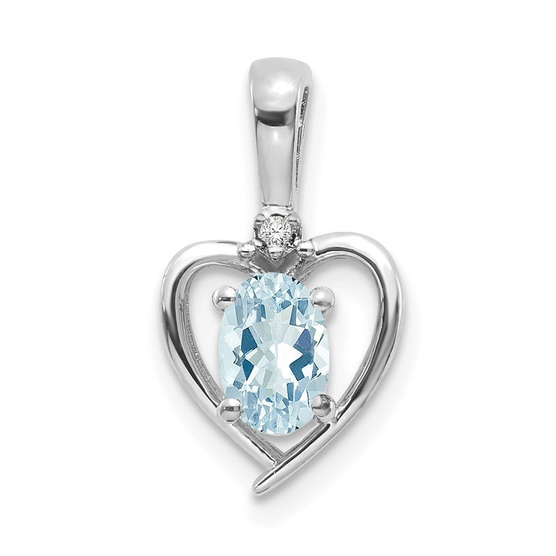 Quality Gold 14k White Gold Aquamarine and Diamond Heart Pendant