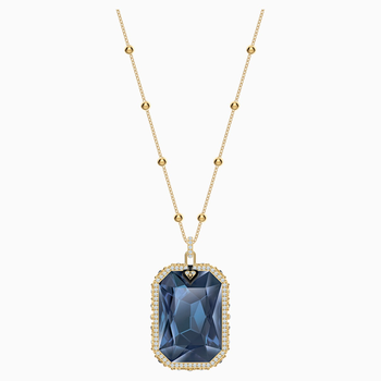 Tarot Magic Pendant, Blue, Gold-tone plated