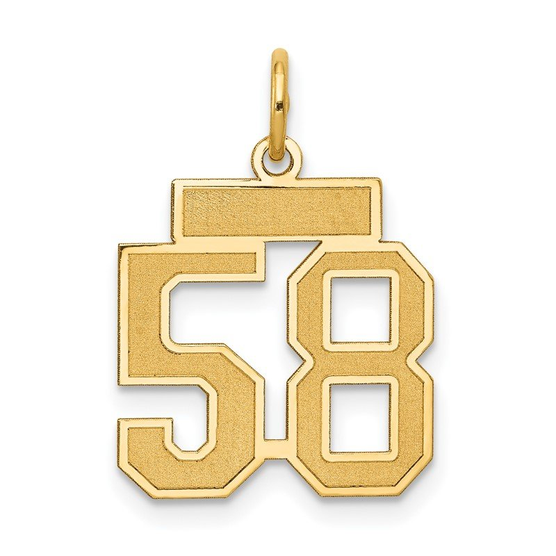 Quality Gold 14k Small Satin Number 58 Charm