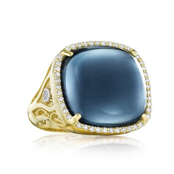Pavé Cushion Cabochon Ring featuring Sky Blue Topaz over Hematite
