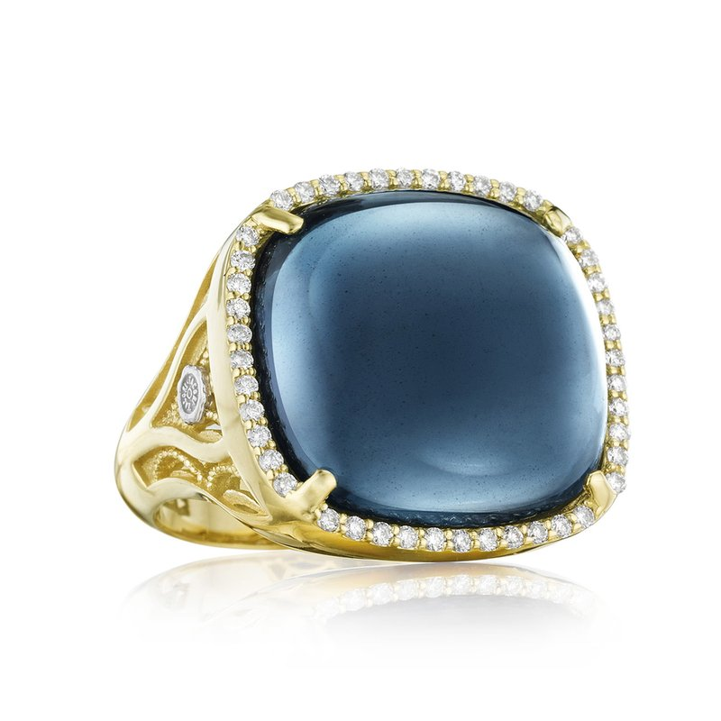 Tacori Fashion Pavé Cushion Cabochon Ring featuring Sky Blue Topaz over Hematite
