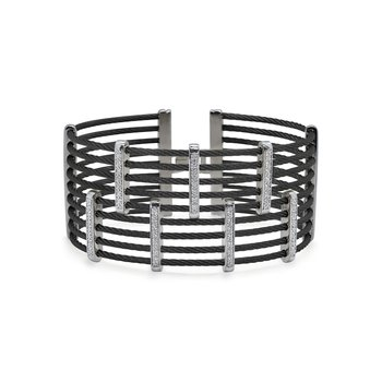 Black Cable Petite Precision Cuff with 18kt White Gold & Diamonds