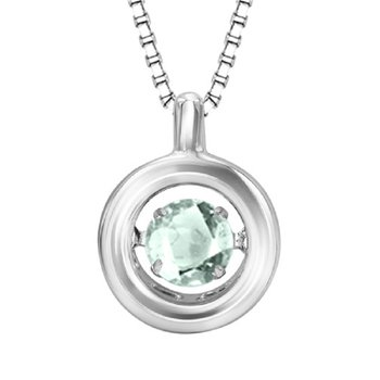 Silver Aquamarine Rhythm Of Love Pendant
