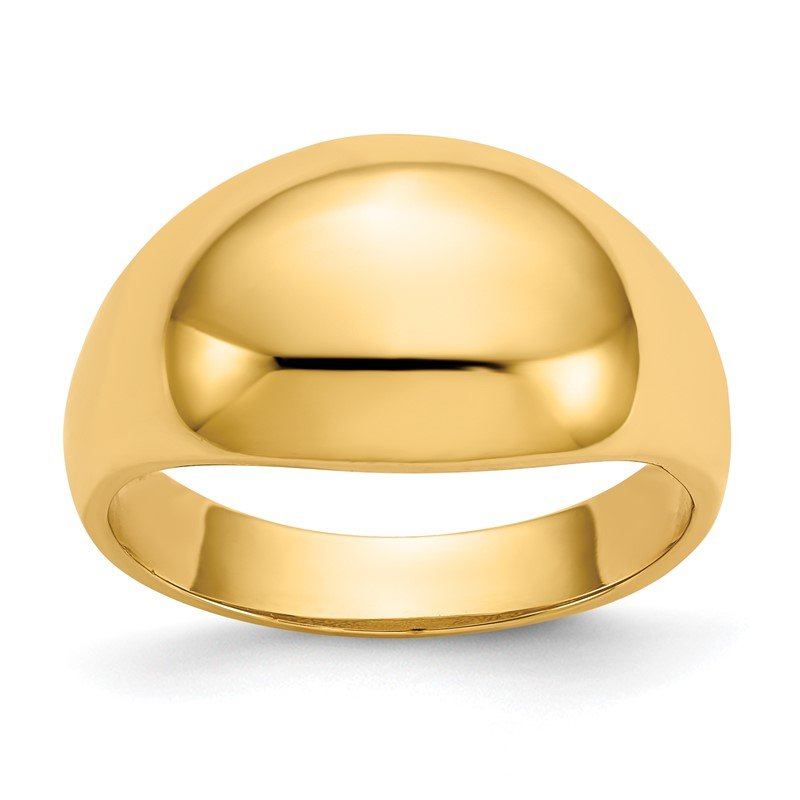 Quality Gold 14K 10mm Domed-top Tapered Cigar Band Ring