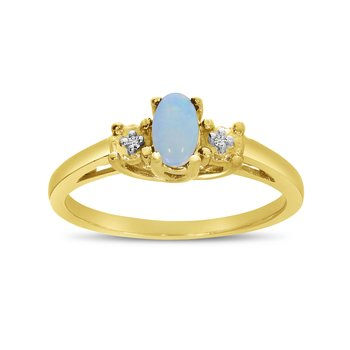 14k Yellow Gold Oval Opal And Diamond Ring