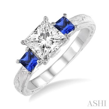 gemstone & diamond semi-mount engagement ring