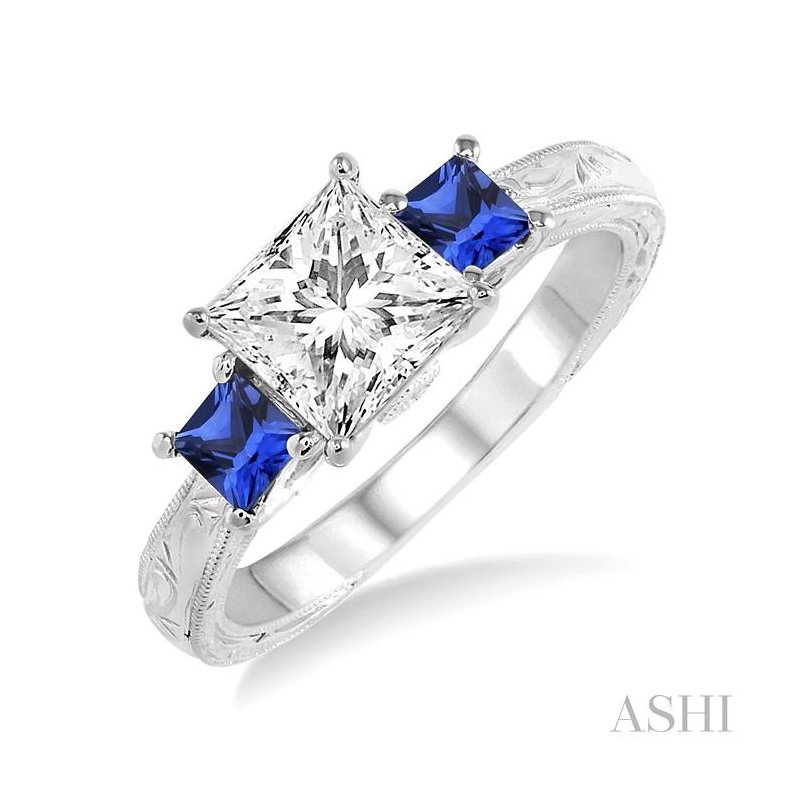 ASHI gemstone & diamond semi-mount engagement ring