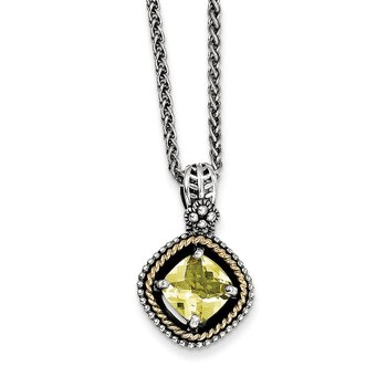 Sterling Silver w/14k Lemon Quartz Necklace
