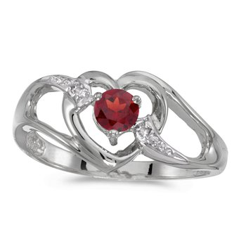 14k White Gold Round Garnet And Diamond Heart Ring