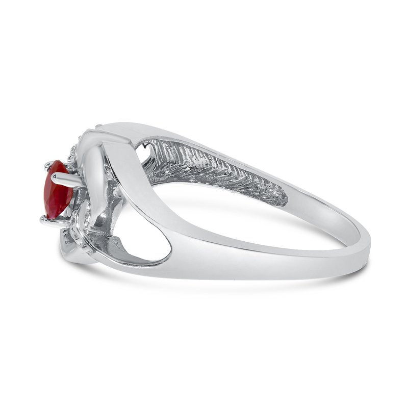 Color Merchants 14k White Gold Round Garnet And Diamond Heart Ring