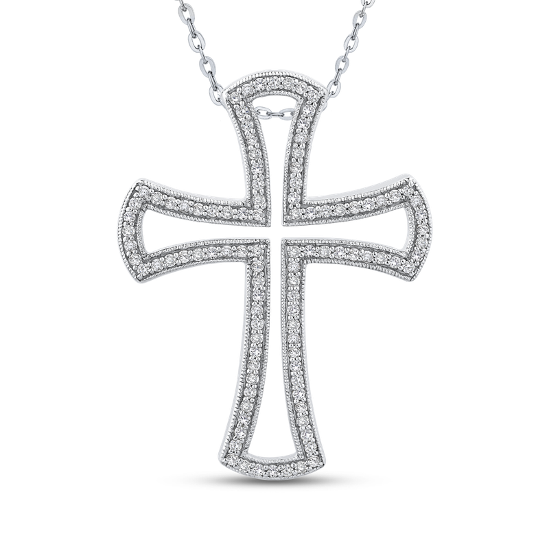 Essentials 10K White Gold 1/2 Ct Diamond Cross Pendant with Chain