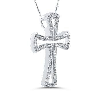 10K White Gold 1/2 Ct Diamond Cross Pendant with Chain