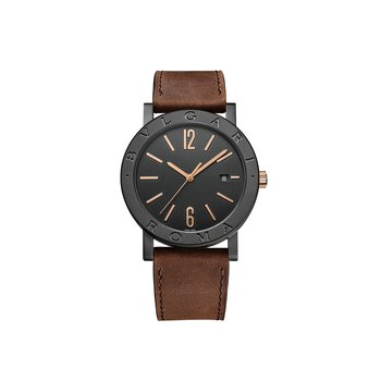 "Bvlgari Bvlgari Cities watch, 41 mm steel case, bezel engraved  with ""BVLGARI ROMA"". Black dial. Brown calf leather strap."