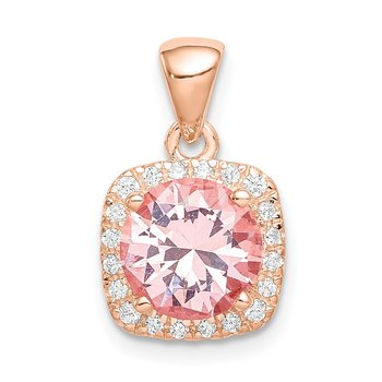 Sterling Silver Rose-tone Square Crystal Pendant