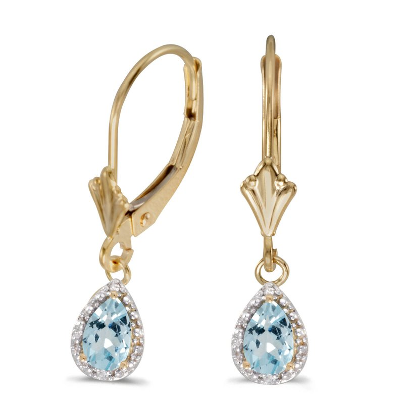 Color Merchants 14k Yellow Gold Pear Aquamarine And Diamond Leverback Earrings