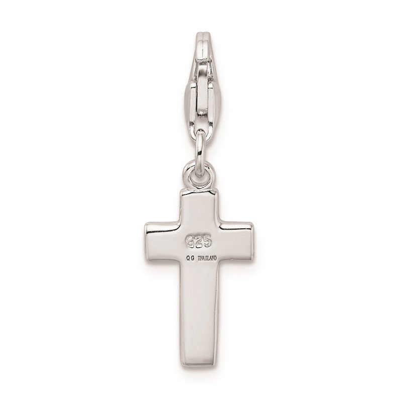 Quality Gold Sterling Silver Rhodium plated Enameled Cross w/Lobster Clasp Charm