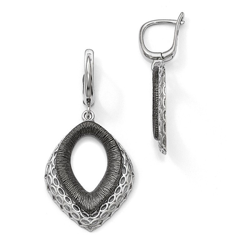 Leslie's Leslie's Sterling Silver Polished/Textured Ruthenium-plated Earrings