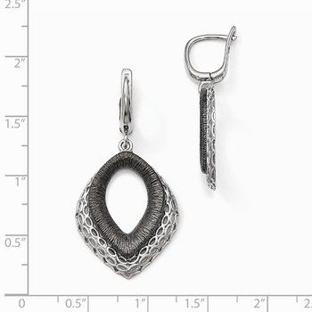 Leslie's Sterling Silver Polished/Textured Ruthenium-plated Earrings