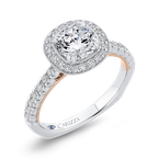 Carizza 14K Two-Tone Gold Round Diamond Halo Engagement Ring with Euro Shank (Semi-Mount)